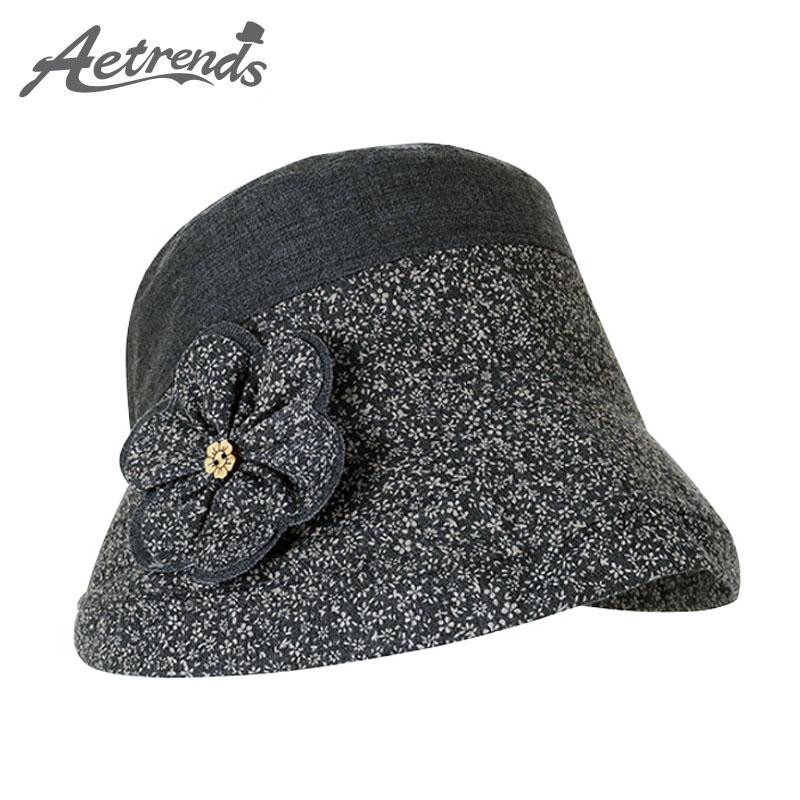 [AETRENDS] 2017 Summer Cotton Bucket Hats for Women Travel Beach Hat Sun UV Protection Cap Z-5126