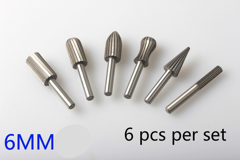 6 Sets Of Hard High Speed Steel Rotary File Carving Knife Rotating Grinding Head Of Polishing Tool Wood Carving [randomtext category=