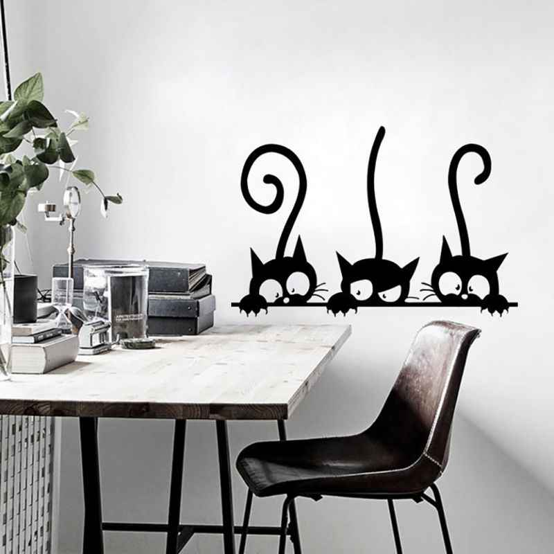 ใหม่สามแมวตลกวอลเปเปอร์ฟอร์มาลดีไฮด์กาวด้วยตนเองและสิ่งแวดล้อมเป็นมิตรสติ๊กเกอร์ติดผนังใหม่