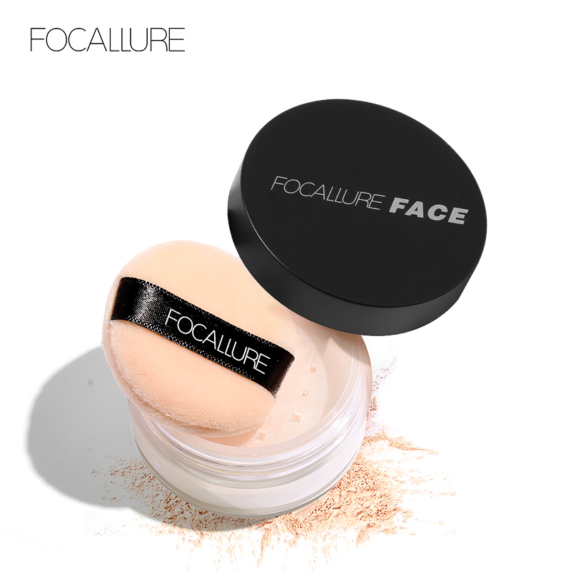 FOCALLURE 3 colors Oil control Mineral Loose powder Face Makeup Finishing Skin Foundation with Powder puff image
