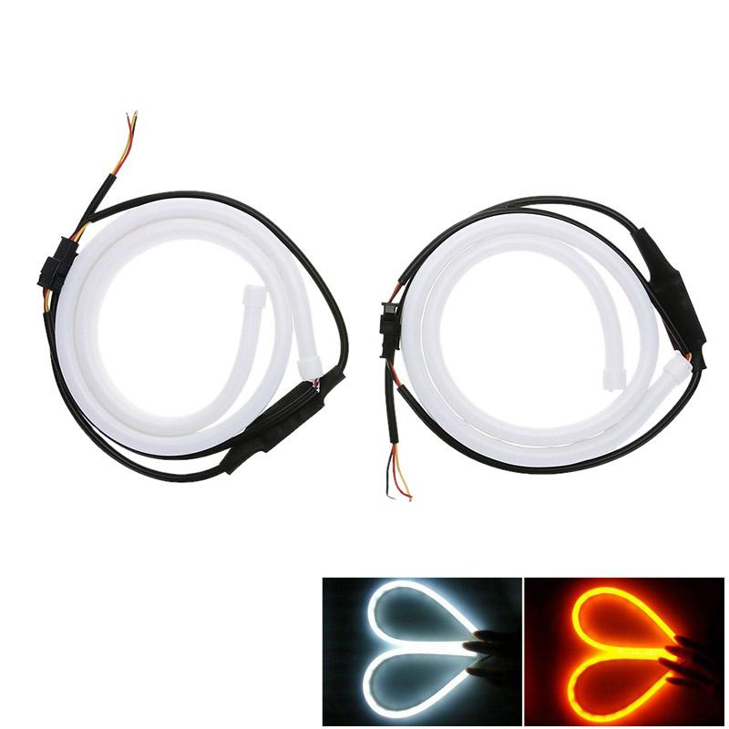 2Pcs 60cm Soft Silicone Tube Guide Car LED Light Strip Angel Eyes DRL Daytime Running Light Auto Light-emitting Diode Tear Lamp 2pcs 45cm 10w auto car silicone tube style flexible strip light headlight angel eye drl led daytime running light lamp white 12v