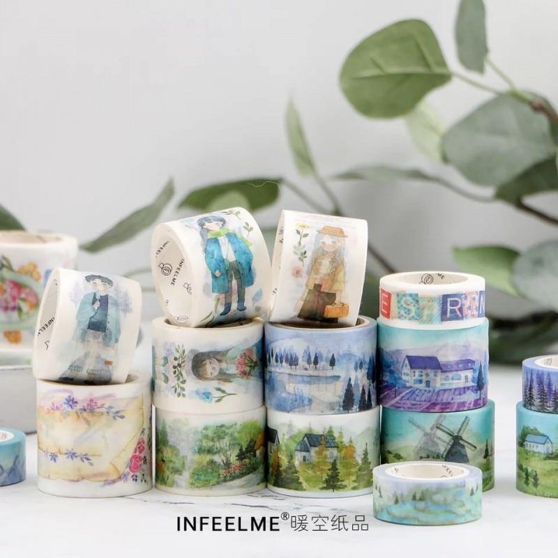 15-40 mm* 5-7m Beautiful girl village washi tape photo album Scrapbook Adhesive decorative tape diy Handmade Gift Card Art craft
