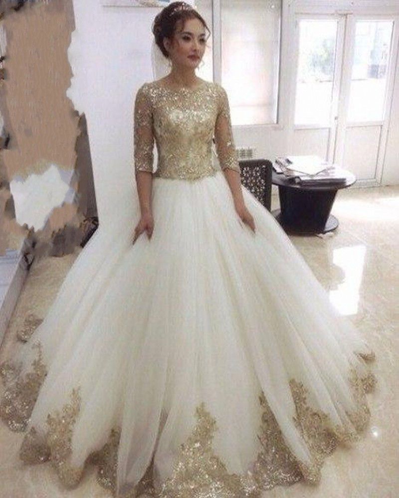 Vintage Golden Lace Muslim Wedding Dress with Sleeves Custom Made ...