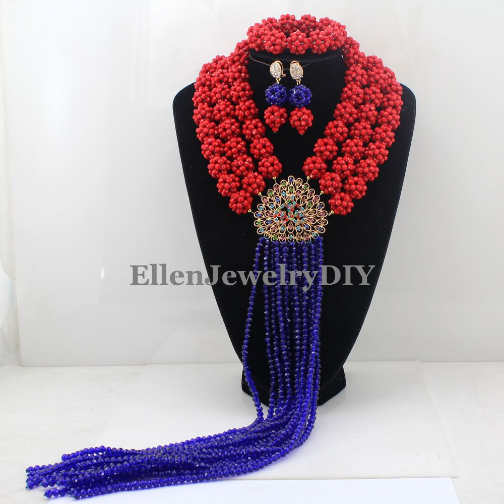 Handmade Statement Necklace Chunky necklace Wedding Jewelry Sets Nigerian Beaded Wedding Bridal Necklace Jewelry Set W12801 nylon rope alloy statement necklace set