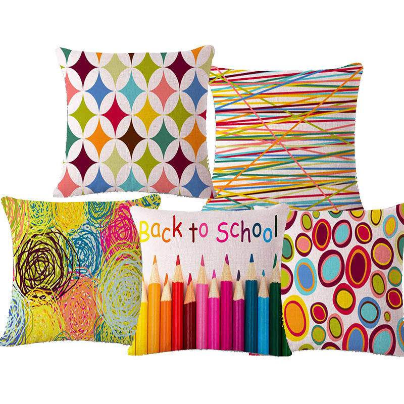 Colorful Bedding Living Room Decorative Blending Cushion Cover Children Home Decorative Throw Pillow Case Cartoon cojines