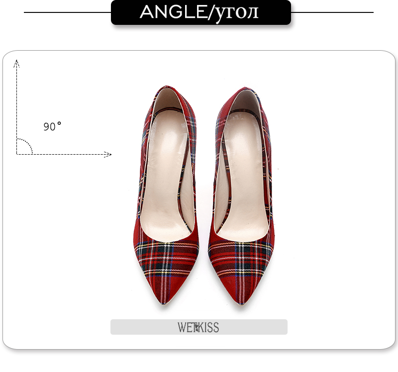Pumps Heels Red Pointed Plaid Shoes 10