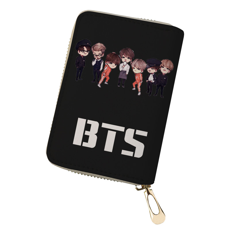 FORUDESIGNS PU Leather Function BTS Card Case Business Card Holder Men  Women Credit Passport Card Bag ID Passport Card Wallet