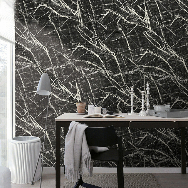 Imitatie Marmeren Steen Patroon PVC Waterdicht Behang Wandbekleding ...