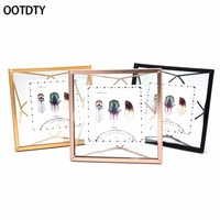 OOTDTY European Retro Metal Prismatic Wire Back Transparent Glass Photo Frame Elegant Creative Home Table Wall