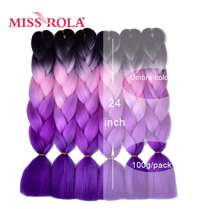 Jumbo Braids Miss Rola Synthetic Jumbo Braids Hair 100g 24 Inch High Temperature Fiber Jumbo Brading Ombre Crochet Braiding Hair Extensions Hair Extensions & Wigs