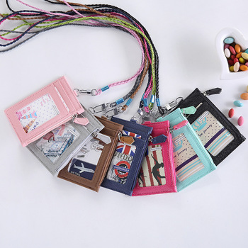 Women Business Card Holder Wallet Men PU Leather ID Card Holders Case Neck Strap Lanyard Ladies Fashion Mini Slim Wallets leather