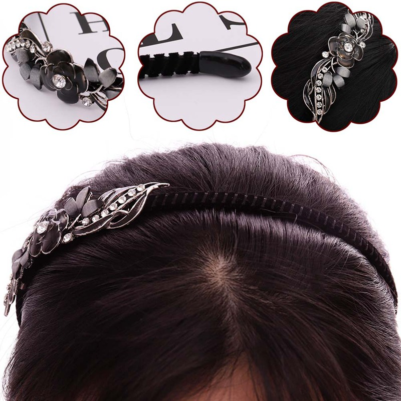 Girls Fashion Hair Accessories Hairband for Women Hair Band Rhinestone Flower Leaf Hair Hoop Headband