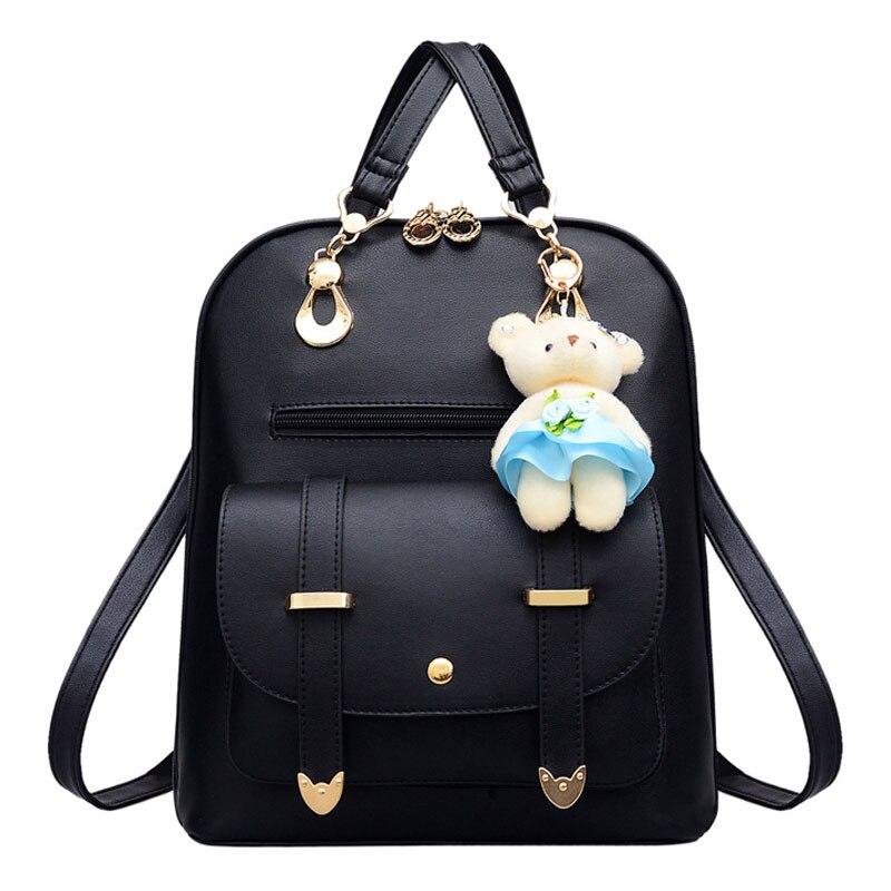 Petrichor style coréen sac à dos femme mignon ours pendentif école sac à dos pour les filles mode sac à bandoulière en cuir synthétique polyuréthane pour femmes