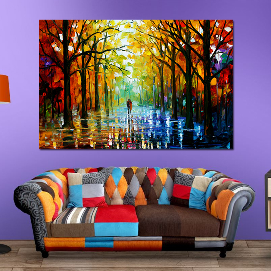 Colorful Palette Knife Oil Painting Prints On Canvas Raining Street Giclee Print Canvas Painting Wall Art For Living Room Decor