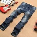 2015 Para Hombre de La Motocicleta Motorista Jeans Apenada Flaco Vaqueros Rectos Denim Plisado Pantalones 3 Colores B1152