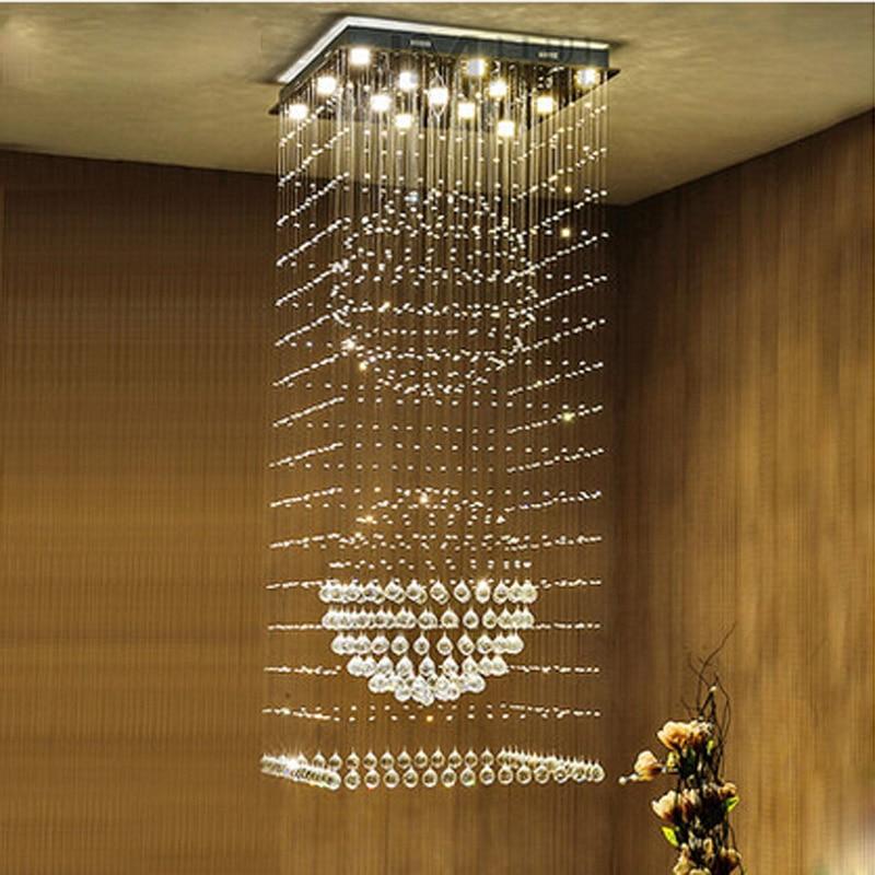 Modern Clear K9 One-level Crystal Chandelier Stairs Lamp Livingroom Hanging Lamp Compound Floor Light Fixtures GU10 LED Bulb цена