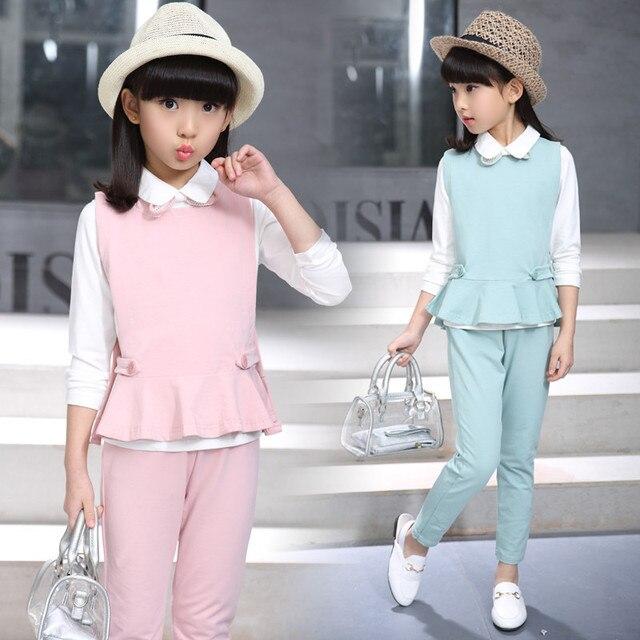 Angleterre Style Solide Ensemble D\u0027habillement Filles 2017 Nouveau Mode  Coton Adolescent filles Marque Ensemble