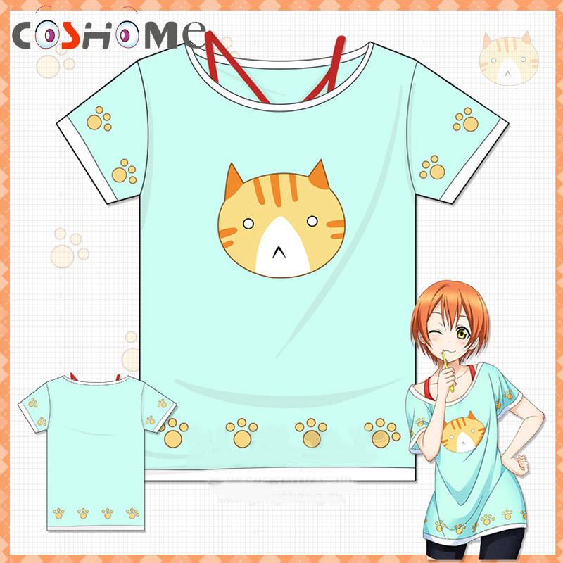 Coshome Love live T Shirt Lovelive Hoshizora Rin Cosplay Costumes Cat T-shirts Women Girls Halloween Party Summer Tees T