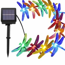 Outdoor Waterproof 6M/19.7ft 30 LED Christmas Solar Power String Lights 8  Modes Dragonfly Fairy Garden Light Party Decoration