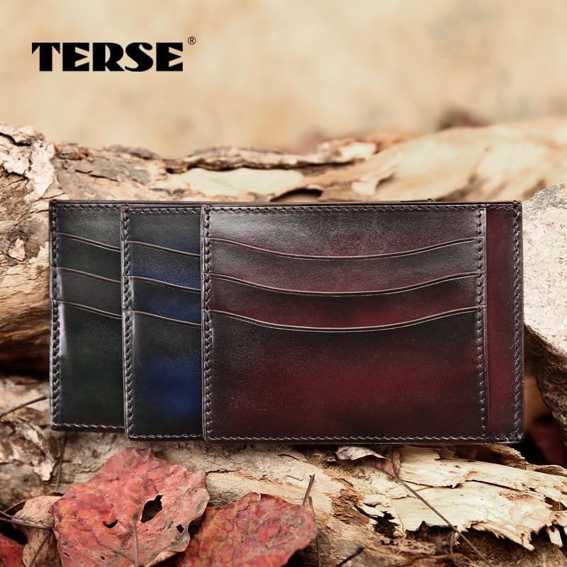 TERSE_Slim simple card wallet Italian calfskin leather men's credit card wallet ID card wallet card holder factory to customer