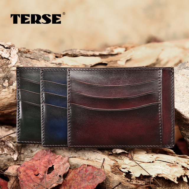 TERSE_Slim simple card wallet Italian calfskin leather men's credit card wallet ID card wallet card holder factory to customer