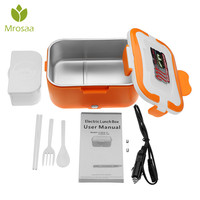 Mrosaa Electric Food Warmer 24V/12V Heating Lunch Box Double Layer Heating Car Oven Convenient Rice Cooker Dinnerware Sets