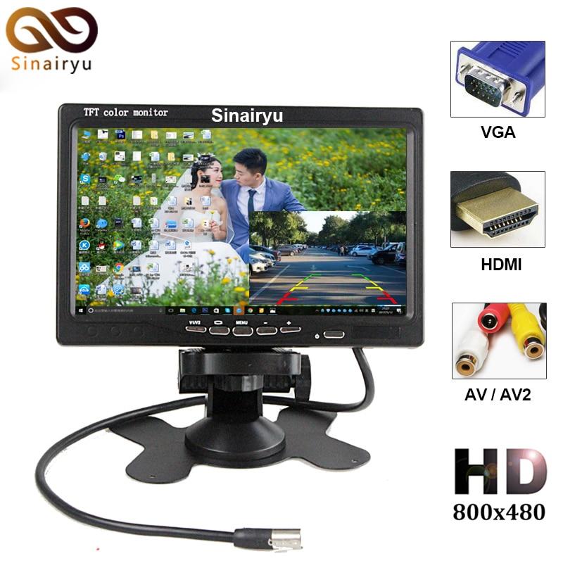 Super HD LCD 7inch Monitor With VGA+AV+HDMI Ultra High Brightness Up To 800*480 Car Monitor Display Family And Car USE 7inch 800x 480 tft color lcd av vehicle car rearview monitor hdmi vga av new dropping shipping
