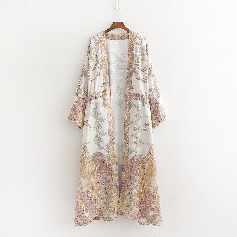 Kimono Trench Modern Clothing Spring Satin Prints-Pattern Long Women New-Fashion Outwear
