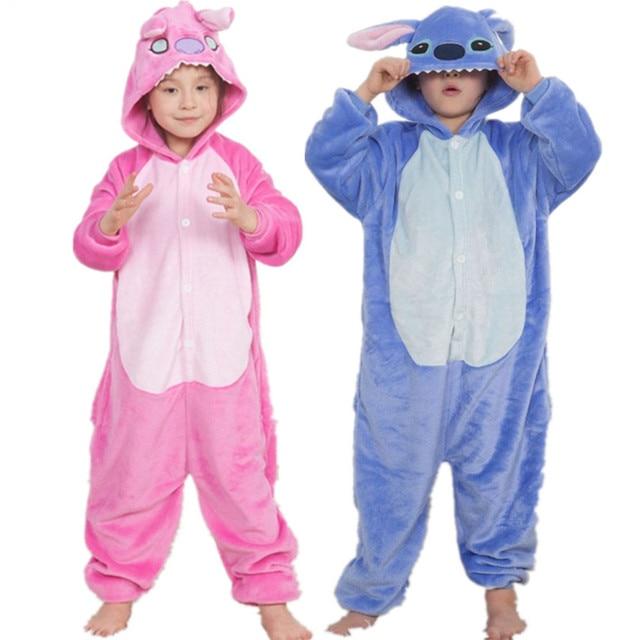 ac9ff21c2b Onesie Kids Animals Pajamas Cartoon Stitch Unicorn Sleepers For Boys Girls  Winter Jumpsuits Children Flannel Pyjama