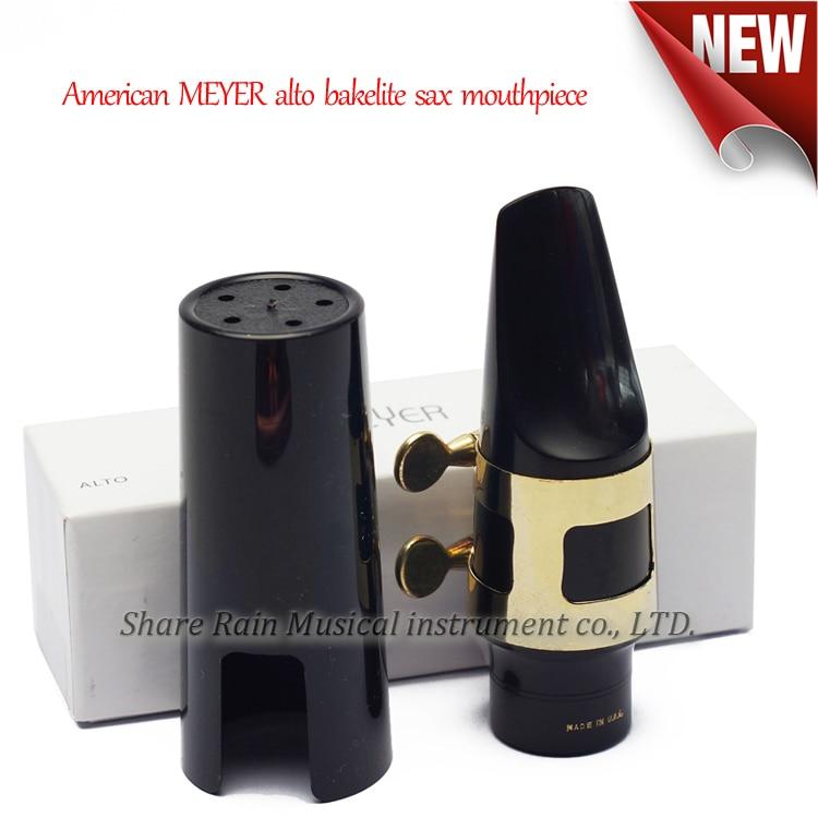 American MEYER Eb alto bakelite Hard rubber sax mouthpiece france bg alto sax bakelite hard rubber mouthpiece ligature l10 including cap paint gold