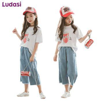 8fc66e2af Chicas de verano conjuntos de ropa de los niños para niñas adolescentes de 8  10 12 años de edad los niños traje de algodón de dibujos animados T-  camisas + ...