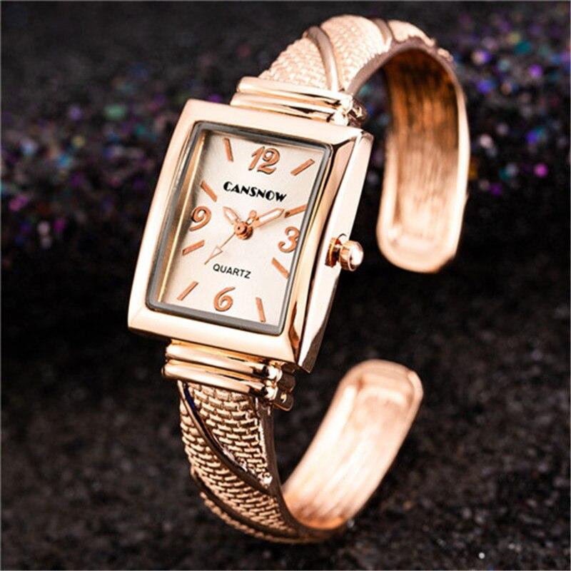 Women Luxury Rectangle Quartz Watches 2019 New Stylish Rose Gold Bracelet Casual Wristwatches Hot Bayan Kol Saati