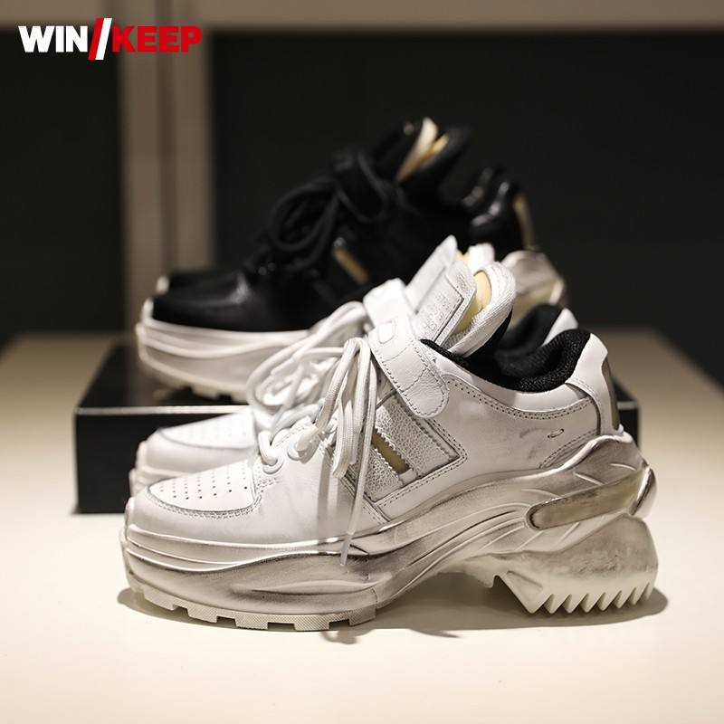 New Brand Casual Solid Hook Loop Shoes  Women Genuine Cow Leather Light Weight Natural Leather Sneakers Running Sport Shoes