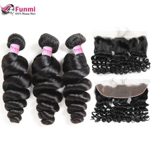 Funmi Loose Wave Bundles With Frontal Peruvian Hair 3 Bundles With Frontal Closure 13X4 Inch Free Part 100% Virgin Human Hair(China)