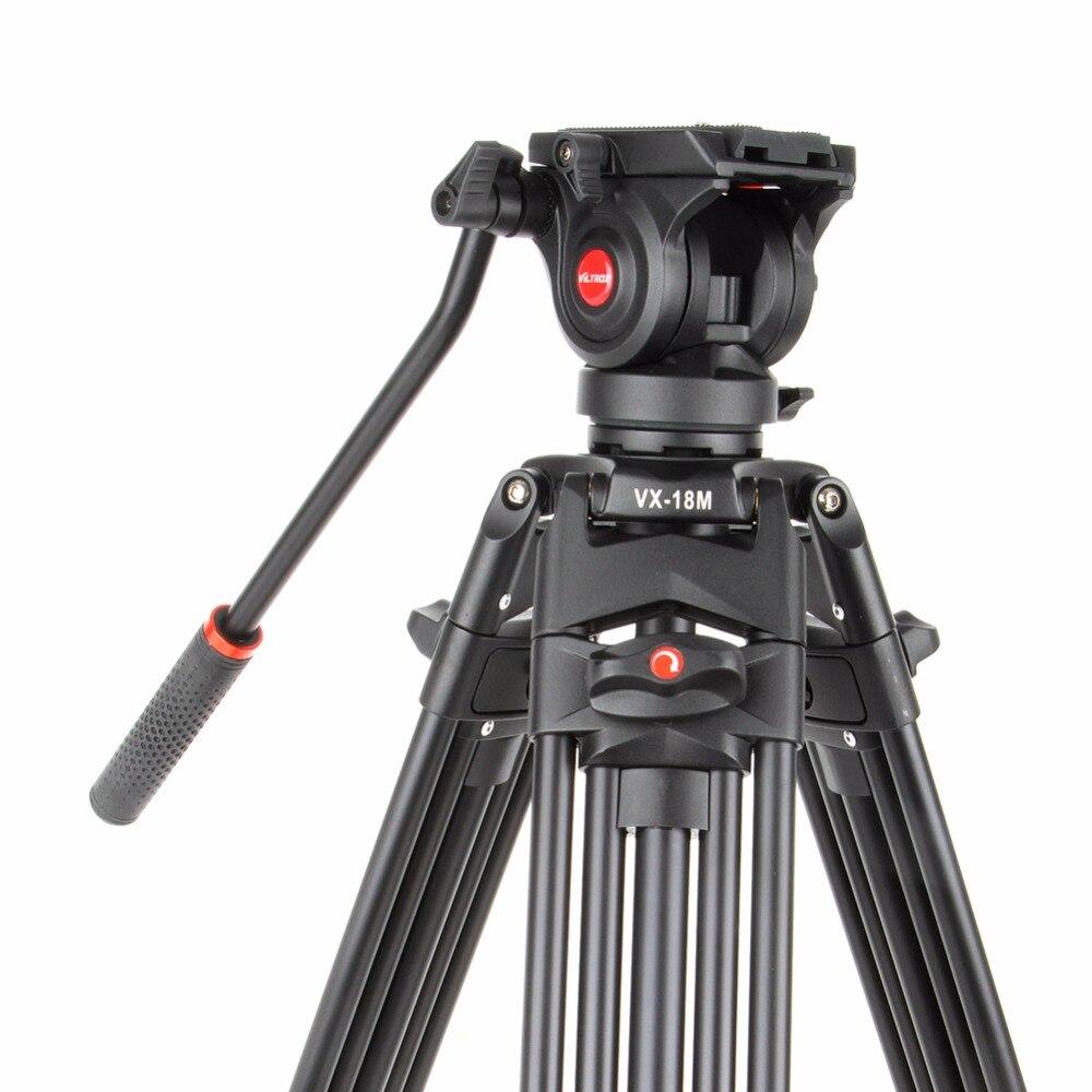 Viltrox VX-18M 74 pouce Professionnel En Aluminium Portable Caméscope Caméra Trépied + Fluide Tête Cylindrique Horsehoe Pour Photo Vidéo Charger 10 kg - 2
