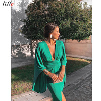 Fashion sexy green dress Hot new style Deep V dress Slim party dress temperament retro style