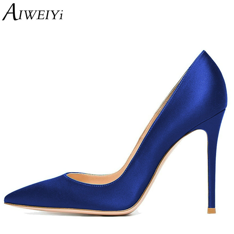 AIWEIYi Women High Heels Basic Pumps Satin Pointed toe Slip On High Heeled Shoes Slip On Dress Party Pumps Blue Stiletto Shoes sexy pointed toe glitter high heels pumps pointed toe blade heels women party dress shoes slip on bride heels pumps