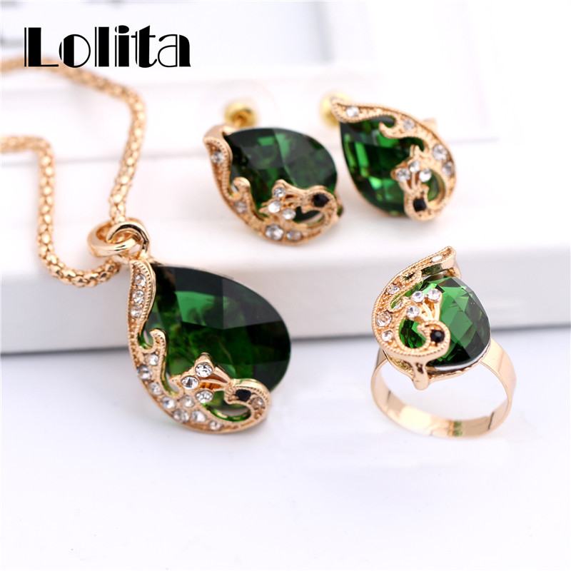 New Fashion Gold Color Jewelry Water Drop Crystal Peacock Bridal Wedding Jewelry Sets ST062