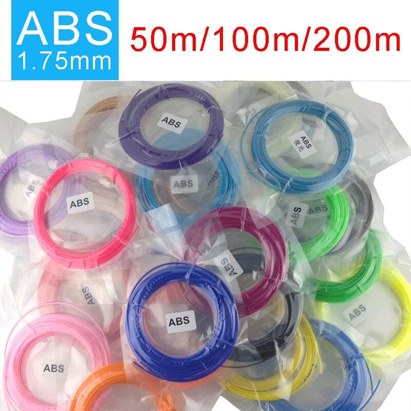 SMAFFOX 3D caneta filamento, 20 cores ABS filamento, 1.75mm ABS, alças de plástico para 3d, impressora 3D material, cada cor 5 metro de comprimento