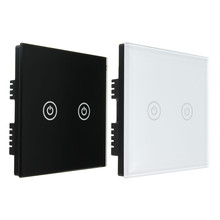 1 Way 2 Gang Tempered Glass Control Touch Screen Light Home Wall Switch Panel AC100 250V