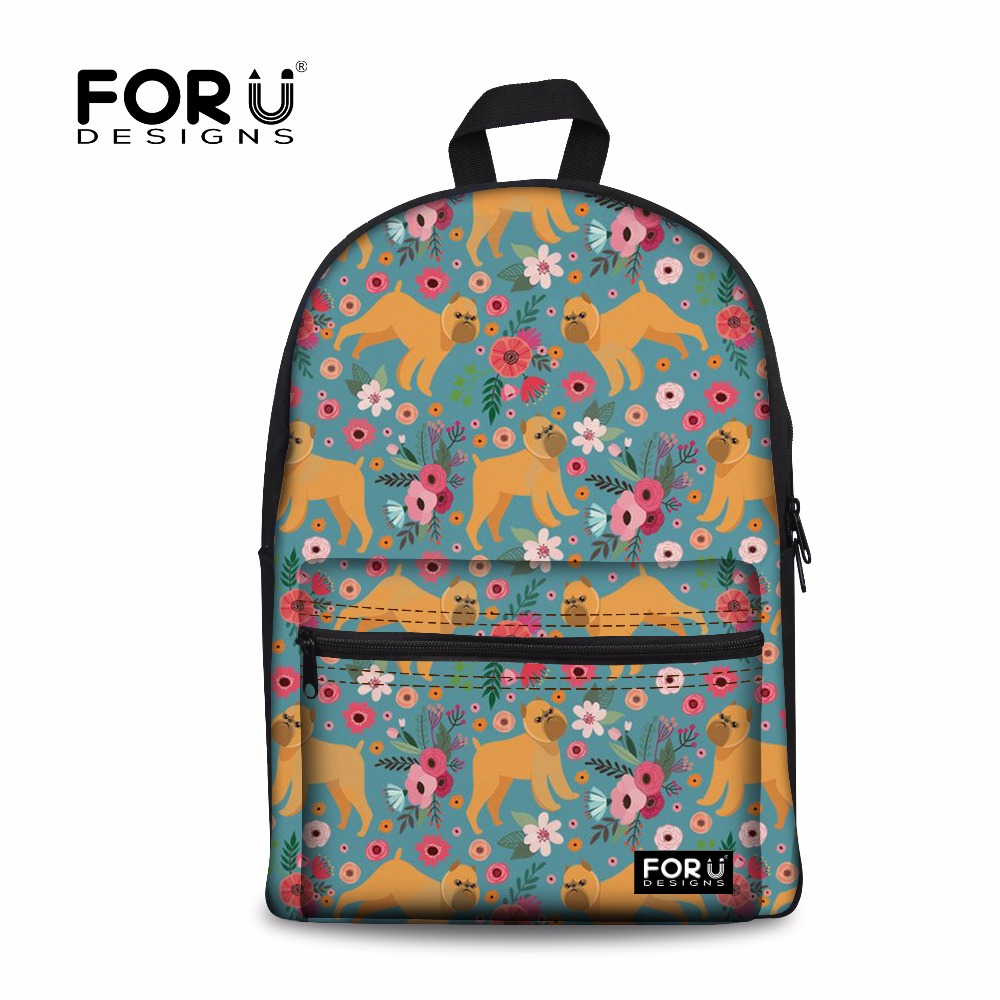 FORUDESIGNS Girls School Bags Women Orthopedic Backpack Brussels Griffon Schoolbag Laptop Backpacks Kids Bags Mochila Escolar N