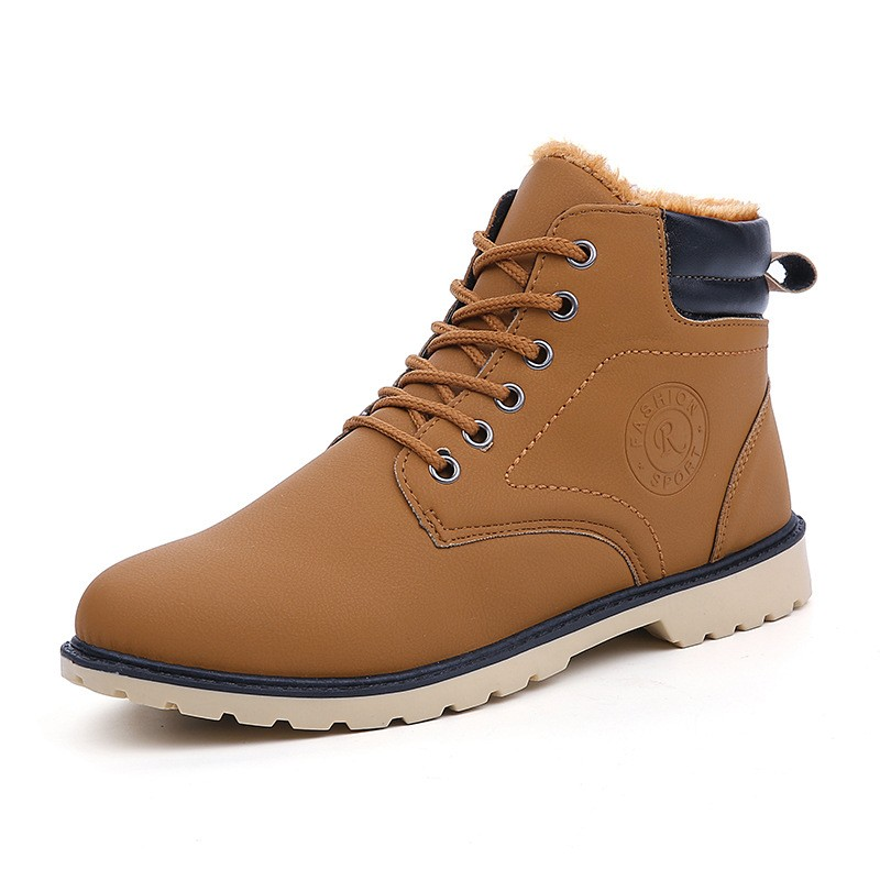 YWEEN Men Leather Boots Autumn Winter High Style Waterproof Fashion Outdoor Work Shoes Casual Martin Boot For Man Hot Sale 35