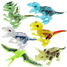 цена на Jurassic Dinosaurs My World Figures Building Blocks Bricks Compatible legoingly Duplos Animal Toys For Children Gift BKX35