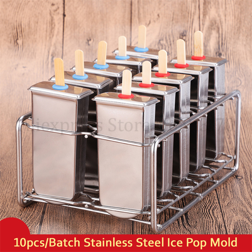 304 Stainless Steel Frozen Yogurt Ice Cream Molds Ice Pop Lolly Cube Mold 10pcs/Batch Home DIY Free Shipping frozen stainless steel popsicle molds 10pcs batch stick holder silver home diy round flat ice cream moulds