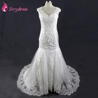 2017 Vintage Wedding Dresses Mermaid V-Neck Appliques Sequins Lace Bridal Gown Tulle Real Photo vestido de noiva casamento Dress