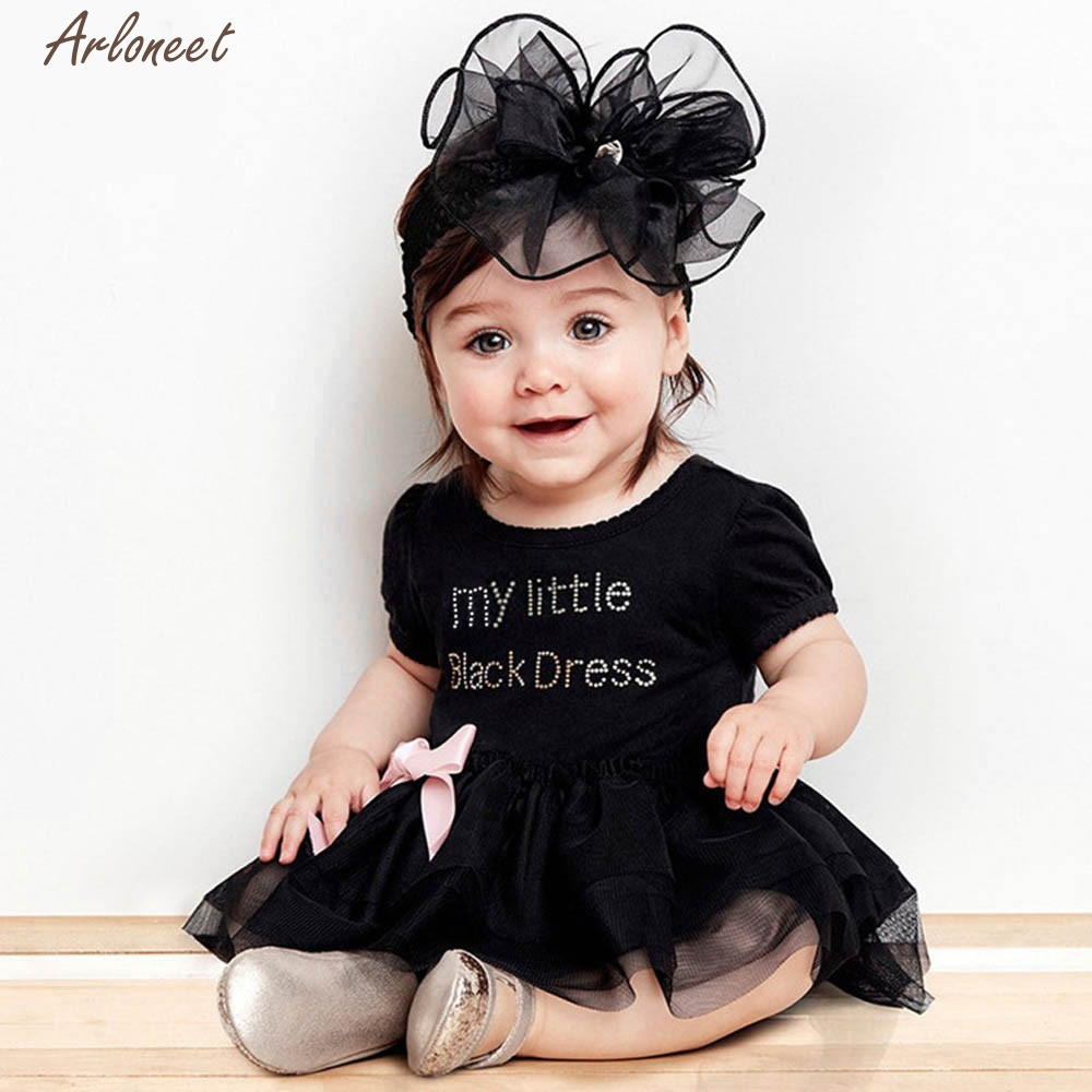c1298aac0 Newborn Baby Girls Embroidered Lace Little Black Dress Bodysuit-in ...