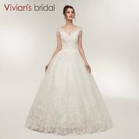 Short Sleeve A Line Wedding Dress 2018 Vivian S Bridal Scoop Neck Beaded Sequin Bridal Dress
