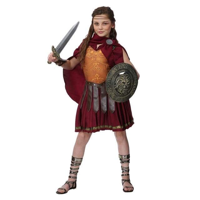 Halloween Deluxe Girls Gladiator Costume Ancient Rome Seasoned ...