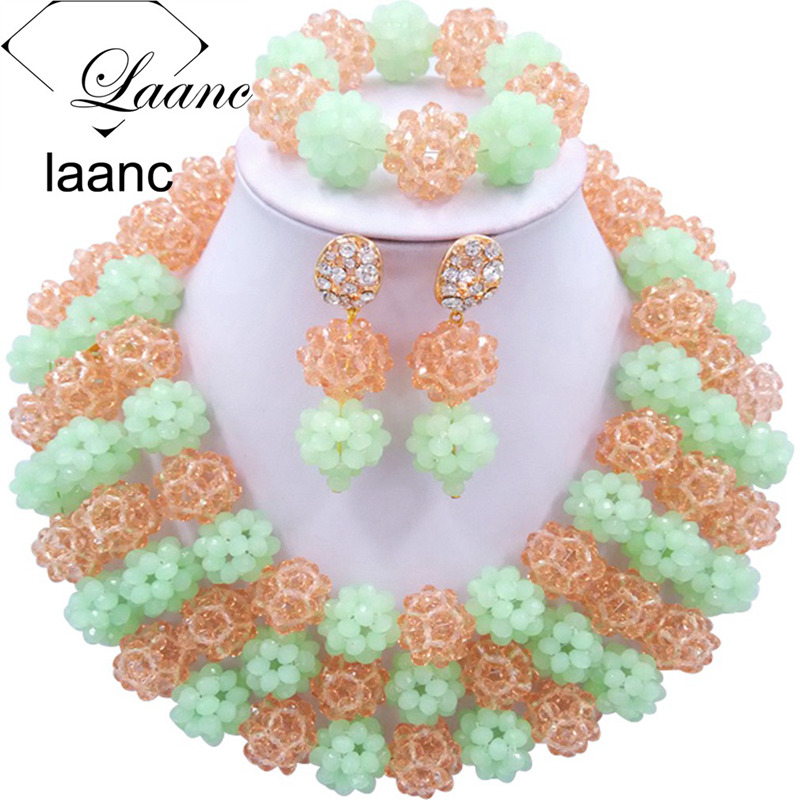 Laanc African Wedding Beads Jewelry Set Crystal Mint Green Peach Nigerian Necklace Sets for Women AL372 mint green casual sleeveless hooded top
