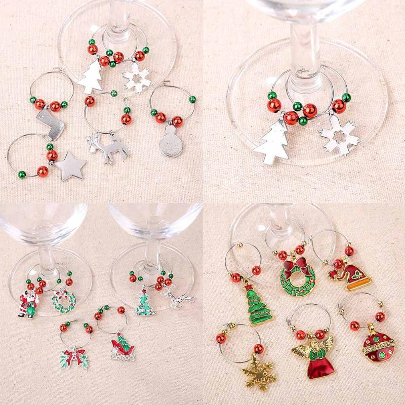Us 2 09 24 Off 6pcs Set Christmas Cup Ring Christmas Wine Glass Decoration Charms Party New Year Cup Ring Christmas Decorations For Home In Pendant